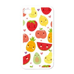 Happy Fruits Pattern Apple Iphone 4 Case (white)