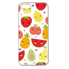 Happy Fruits Pattern Apple Seamless Iphone 5 Case (clear)