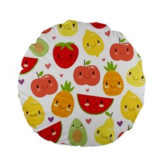 Happy Fruits Pattern Standard 15  Premium Round Cushions