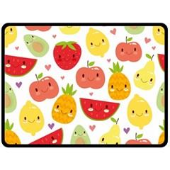 Happy Fruits Pattern Double Sided Fleece Blanket (large)