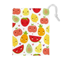 Happy Fruits Pattern Drawstring Pouches (extra Large)