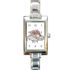 Monster Rat Hand Draw Illustration Rectangle Italian Charm Watch
