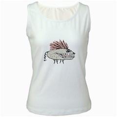 Monster Rat Hand Draw Illustration Women s White Tank Top