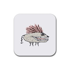 Monster Rat Hand Draw Illustration Rubber Square Coaster (4 Pack)