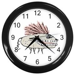 Monster Rat Hand Draw Illustration Wall Clocks (black)