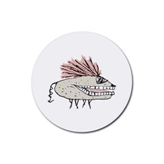 Monster Rat Hand Draw Illustration Rubber Coaster (round)