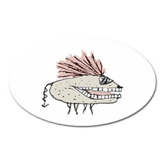 Monster Rat Hand Draw Illustration Oval Magnet