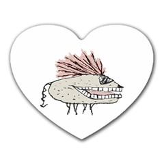 Monster Rat Hand Draw Illustration Heart Mousepads