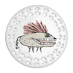 Monster Rat Hand Draw Illustration Ornament (round Filigree)