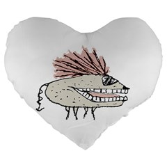 Monster Rat Hand Draw Illustration Large 19  Premium Heart Shape Cushions