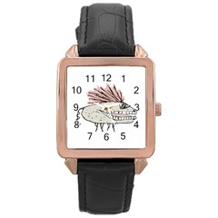Monster Rat Hand Draw Illustration Rose Gold Leather Watch