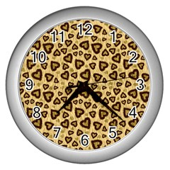 Leopard Heart 01 Wall Clocks (silver)
