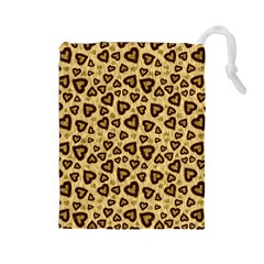 Leopard Heart 01 Drawstring Pouches (large)