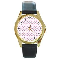 Pixel Hearts Round Gold Metal Watch