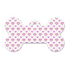 Pixel Hearts Dog Tag Bone (one Side)