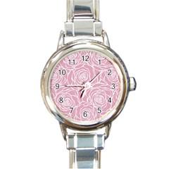 Pink Peonies Round Italian Charm Watch