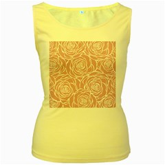 Pink Peonies Women s Yellow Tank Top