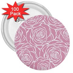 Pink Peonies 3  Buttons (100 Pack)