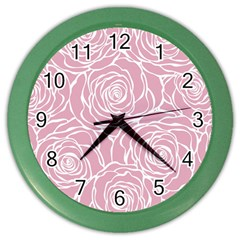 Pink Peonies Color Wall Clocks