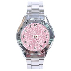 Pink Peonies Stainless Steel Analogue Watch