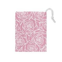 Pink Peonies Drawstring Pouches (medium)