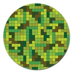 Tetris Camouflage Forest Magnet 5  (round)