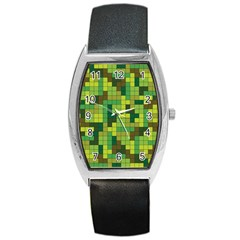 Tetris Camouflage Forest Barrel Style Metal Watch