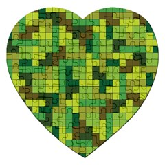 Tetris Camouflage Forest Jigsaw Puzzle (heart)