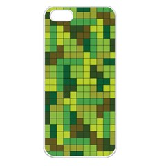 Tetris Camouflage Forest Apple Iphone 5 Seamless Case (white)