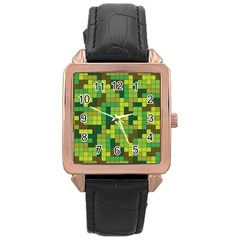 Tetris Camouflage Forest Rose Gold Leather Watch