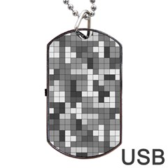 Tetris Camouflage Urban Dog Tag Usb Flash (one Side)