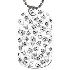 A Lot Of Skulls White Dog Tag (one Side)