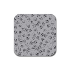 A Lot Of Skulls Grey Rubber Square Coaster (4 Pack)