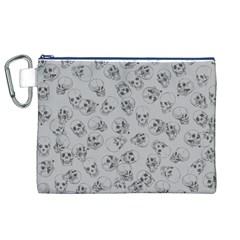 A Lot Of Skulls Grey Canvas Cosmetic Bag (xl)