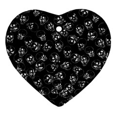 A Lot Of Skulls Black Ornament (heart)