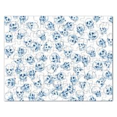 A Lot Of Skulls Blue Rectangular Jigsaw Puzzl