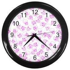 A Lot Of Skulls Pink Wall Clocks (black)
