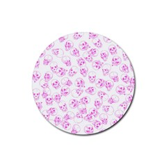 A Lot Of Skulls Pink Rubber Round Coaster (4 Pack)