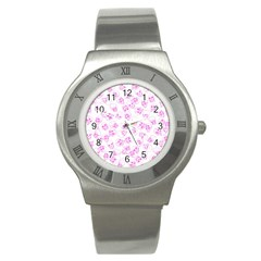 A Lot Of Skulls Pink Stainless Steel Watch