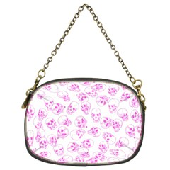 A Lot Of Skulls Pink Chain Purses (two Sides)
