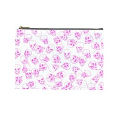 A Lot Of Skulls Pink Cosmetic Bag (large)
