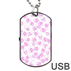 A Lot Of Skulls Pink Dog Tag Usb Flash (one Side)