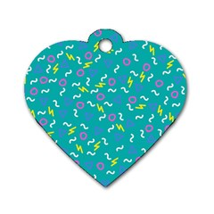 Retro Wave 4 Dog Tag Heart (two Sides)