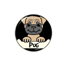 Tan Pug With A Bone  Hat Clip Ball Marker (4 Pack)