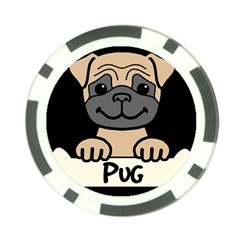 Tan Pug With A Bone  Poker Chip Card Guard