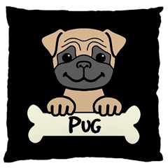 Tan Pug With A Bone Large Cushion Case (two Sided)
