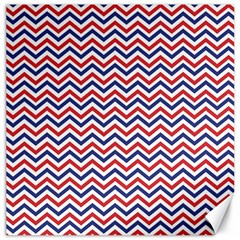 Navy Chevron Canvas 16  X 16