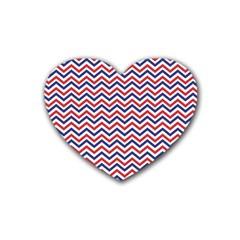 Navy Chevron Rubber Coaster (heart)