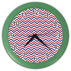 Navy Chevron Color Wall Clocks