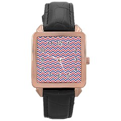 Navy Chevron Rose Gold Leather Watch